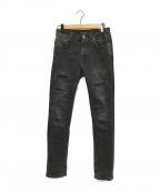 NUDIE JEANS(ヌーディジーンズ)の古着「リペアデニムパンツ」|ブラック