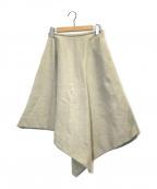 ENFOLD()の古着「ボンディングリネンスカート」|ベージュ