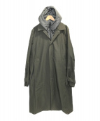 ()の古着「ステンカラーフードスタイリッシュコート」 グリーン
