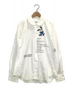 ()の古着「OSWALDプリントラウンドカラーシャツ」 ホワイト