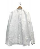 ()の古着「ハイカウントリネンバンドカラーシャツ」|ホワイト