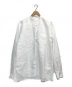nestrobe confect(ネストローブ コンフェクト)の古着「ハイカウントリネンバンドカラーシャツ」 ホワイト