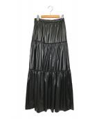 ()の古着「Leather like tiered SK」 ブラック