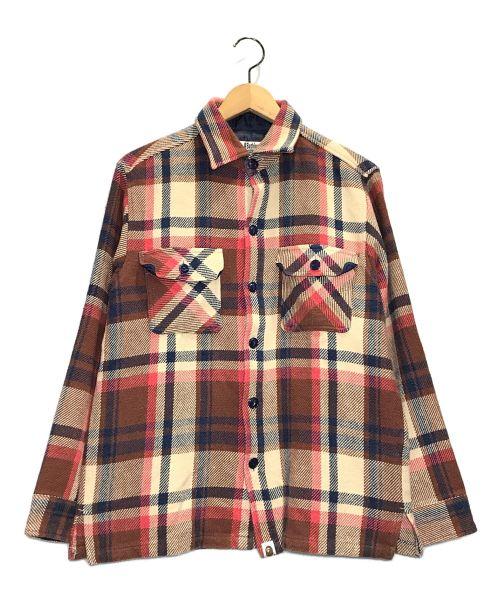 A BATHING APE(エイプ)A BATHING APE (エイプ) ラブジェネエルボーパッチネルシャツ ベージュ サイズ:Lの古着・服飾アイテム