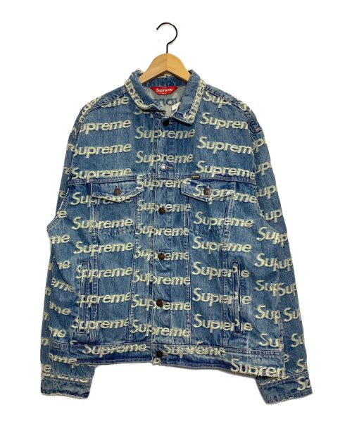 SUPREME(シュプリーム)Supreme (シュプリーム) Frayed Logos Denim Trucker JKT ブルー サイズ:L 未使用品の古着・服飾アイテム