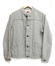 BRU NA BOINNE(ブルーナボイン)の古着「スタンドカラーデニムジャケット」 グレー