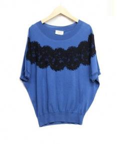 LANVIN(ランバン)の古着「半袖ニット」 ブルー×ブラック