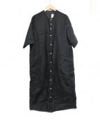 NO CONTROL AIR(ノーコントロールエアー)の古着「リネンガーゼドビーシャツワンピース」|ブラック