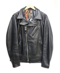 Stussy × Schott NYC(ステューシー×ショット NYC)の古着「Motorcycle Jacet」|ブラック