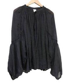 Tavii(タヴィ)の古着「シャーリングバルーンスリーブブラウス」 ブラック