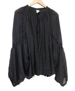 Tavii(タヴィ)の古着「シャーリングバルーンスリーブブラウス」|ブラック