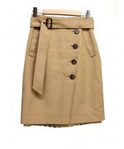 Apuweiser-riche(アプワイザーリッチ)の古着「ギンガムリバーシブルタイトスカート」|ブラウン