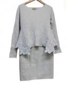 Apuweiser-riche(アプワイザーリッチ)の古着「変形ニット×タイトスカートセット」|グレー