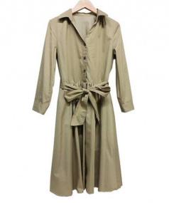 ROPE(ロペ)の古着「ベルト付シャツワンピース」|ベージュ