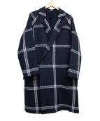 Edwina Horl(エドウィナホール)の古着「和紙混ダブルロングコート」|ネイビー
