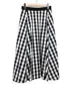 heliopole(エリオポール)の古着「ミディアムフレアスカート」 ホワイト×ブラック