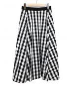 heliopole(エリオポール)の古着「ミディアムフレアスカート」|ホワイト×ブラック