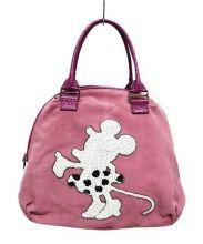 muta(ムータ)の古着「レザースウェードハンドバッグ」 ピンク