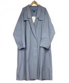 cuff(カフ)の古着「ダブルロングコート」 ブルー