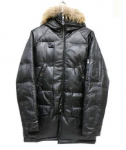 liugoo leathers(リューグーレザーズ)の古着「ファー付ダウンコート」|ブラック