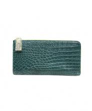 クロコ型押しラウンドファスナー財布(クロコ型押シラウンドファスナー財布)の古着「クロコ型押しラウンドファスナー財布」|グリーン