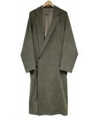 Edwina Horl(エドウィナホール)の古着「artificialleatherチェスターコート」|カーキ