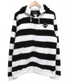 F.C.Real Bristol(エフシーレアルブリストル)の古着「ボーダーパイルジップアップパーカー」|ブラック×ホワイト