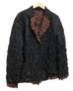 ISSEY MIYAKE WHITE LABEL(イッセイミヤケホワイトレーベル)の古着「リバーシブルシワ加工ジャケット」 ブラック×ブラウン