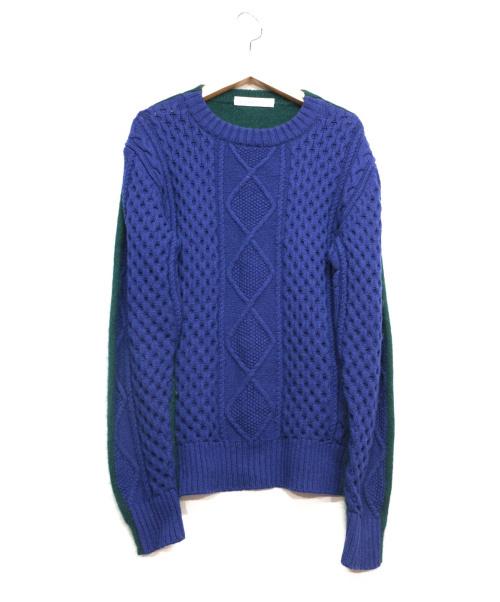 sacai luck(サカイラック)sacai luck (サカイラック) ドッキングプルオーバーニット ブルー×グリーン サイズ:2の古着・服飾アイテム
