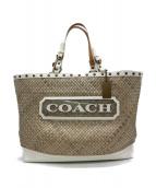COACH(コーチ)の古着「ロゴカゴバッグ」|ベージュ