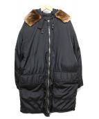 PRADA(プラダ)の古着「ファー付ダウンジャケット」 ブラック
