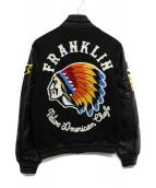 Franklin & Marshall(フランクリン&マーシャル)の古着「レザースリーブスタジャン」 ブラック