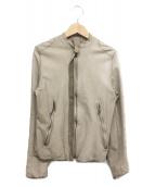 SISII(シシ)の古着「ノーカラーレザージャケット」|ベージュ
