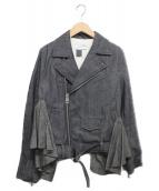 FACETASM(ファセッタズム)の古着「フリルライダースジャケット」|グレー