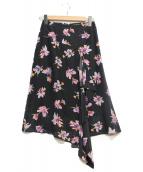ESTNATION(エストネーション)の古着「フリルプリントスカート」|ネイビー