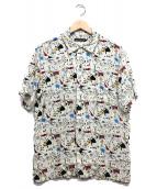 Thee Hysteric XXX(ジィ ヒステリック トリプルエックス)の古着「総柄オープンカラーシャツ」|ホワイト