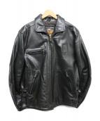 HARLEY-DAVIDSON(ハーレーダビットソン)の古着「ホースレザーシングルライダースジャケット」|ブラック