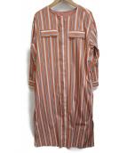 LA MARINE FRANCAISE(マリンフランセーズ)の古着「ランダムストライプノーカラーワンピース」|オレンジ×ホワイト