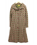 Jocomomola(ホコモモラ)の古着「立体刺繍コート」 ブラウン×グリーン