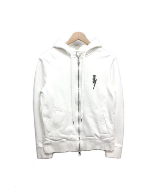 NEIL BARRETT(ニールバレット)NEIL BARRETT (ニールバレット) Scrubble Bolt Hoodie ホワイト サイズ:XSの古着・服飾アイテム