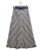 Mystrada(マイストラーダ)の古着「フェザーツイードスカート」|ブルー×ホワイト