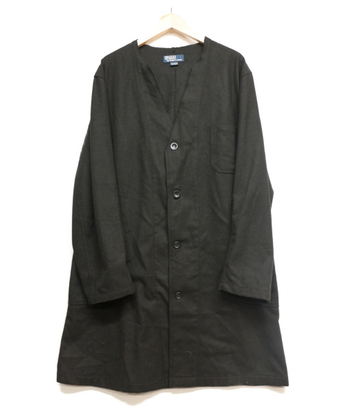 POLO RALPH LAUREN(ポロラルフローレン)POLO RALPH LAUREN (ポロラルフローレン) ノーカラーフェルトコート ブラック サイズ:記載なしの古着・服飾アイテム