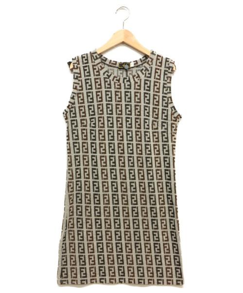FENDI(フェンディ)FENDI (フェンディ) ズッカ柄パイルワンピース グレー サイズ:44の古着・服飾アイテム