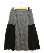 theory luxe(セオリーリュクス)の古着「プリーツ切替スカート」|グレー×ブラック