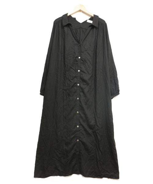 SLOBE IENA(スローブ イエナ)SLOBE IENA (イエナスローブ) 両Vネックシャツワンピース ブラック サイズ:F キュプラの古着・服飾アイテム
