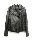 REPLAY(リプレイ)の古着「フリルレザージャケット」|ブラック