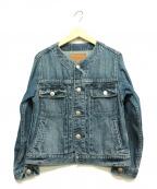 moname(モナーム)の古着「ノーカラーデニムジャケット」 ブルー