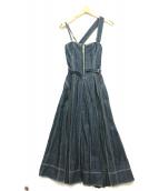 CASA FLINE(カーサフライン)の古着「フロントホックデニムロングワンピース」