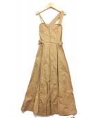 CASA FLINE(カーサフライン)の古着「フロントホックデニムワンピース」|ブラウン