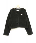 Vincent et Mireille(ヴァンソンエミレイユ)の古着「ボアショートカーディガン」|ブラック